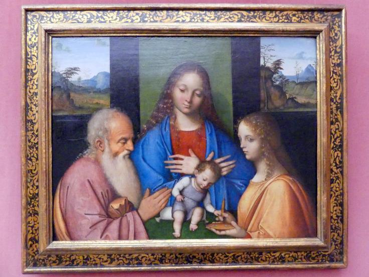Giovanni Agostino da Lodi: Maria mit dem Kind und den hll. Joseph und Lucia, um 1500 - 1505