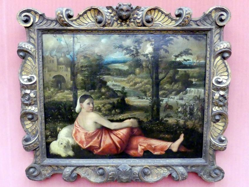 Giovanni Cariani (Giovanni Busi): Bildnis einer ruhenden jungen Frau in einer Landschaft, um 1520 - 1524