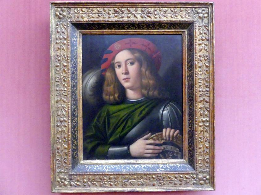 Domenico di Bernardino Capriolo: Bildnis eines Jünglings in Rüstung, Um 1520