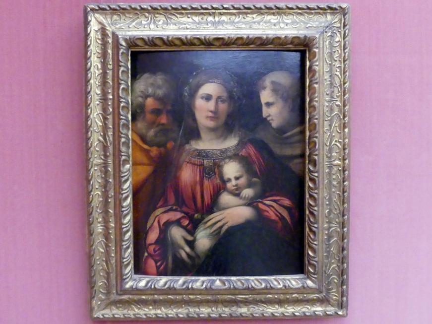 Giovanni Luteri (Dosso Dossi): Die Heilige Familie mit dem hl. Franziskus, um 1516