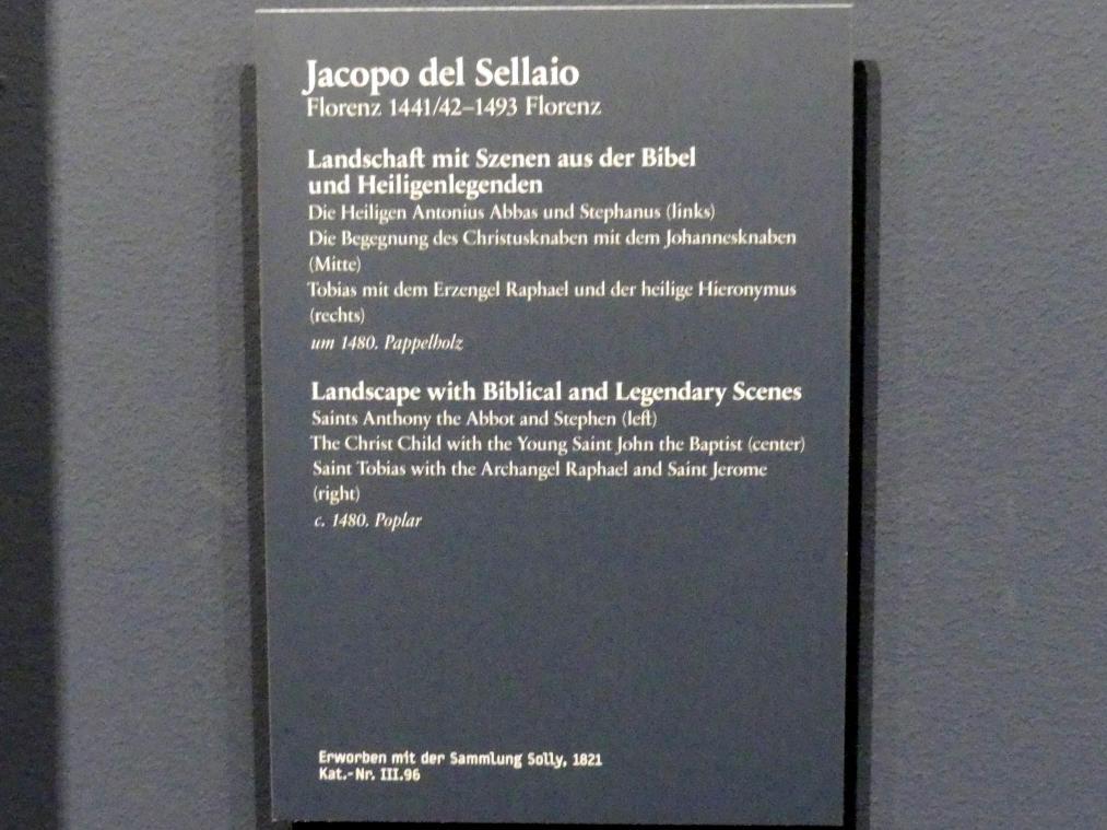 Jacopo del Sellaio: Landschaft mit Szenen aus der Bibel und Heiligenlegenden, um 1480, Bild 2/2