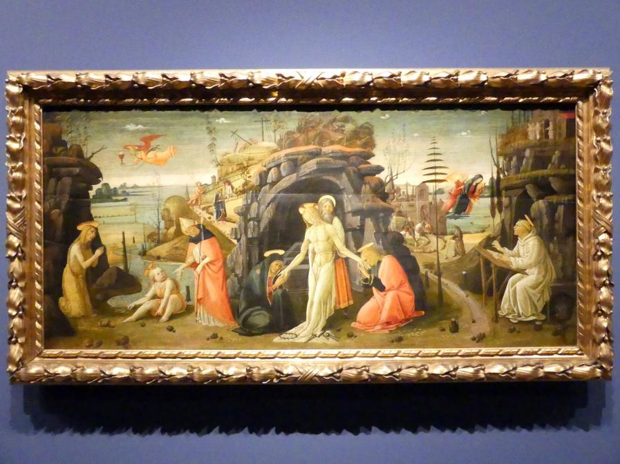 Jacopo del Sellaio: Landschaft mit Szenen aus der Bibel und Heiligenlegenden, Um 1480