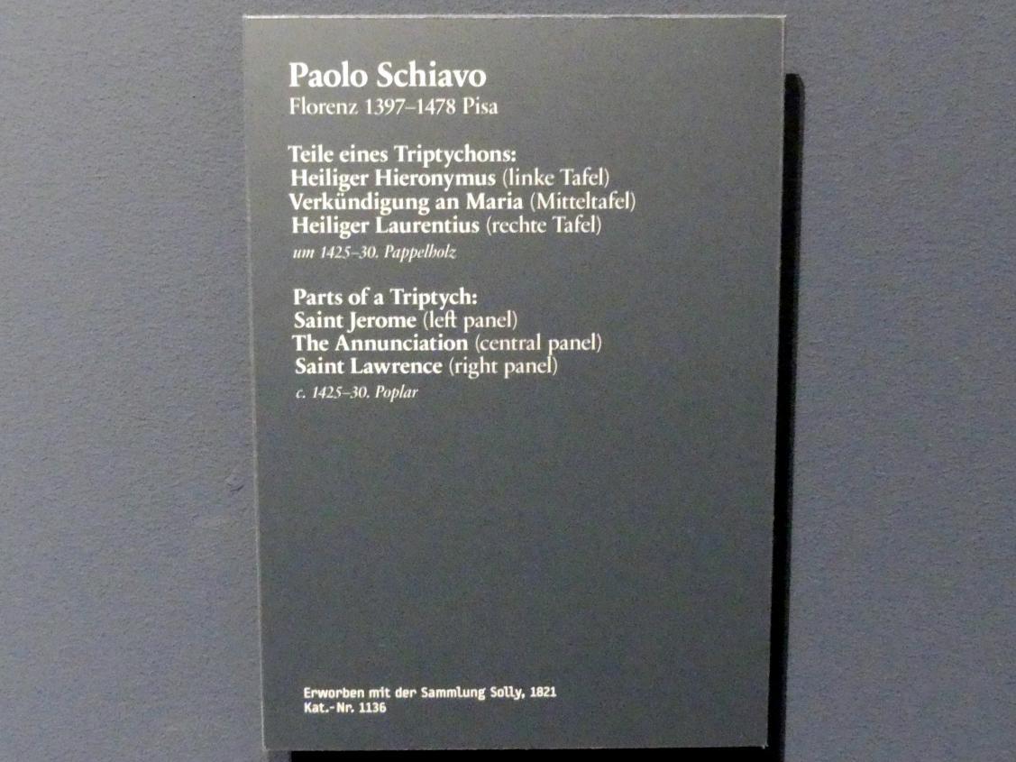 Paolo Schiavo: Teile eines Triptychons, um 1425 - 1430, Bild 2/2