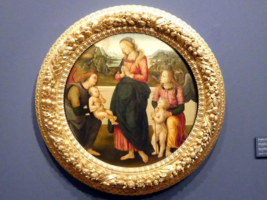 Pietro Perugino (Nachfolger): Maria, das Kind verehrend, mit dem Johannesknaben und zwei Engeln, Um 1500