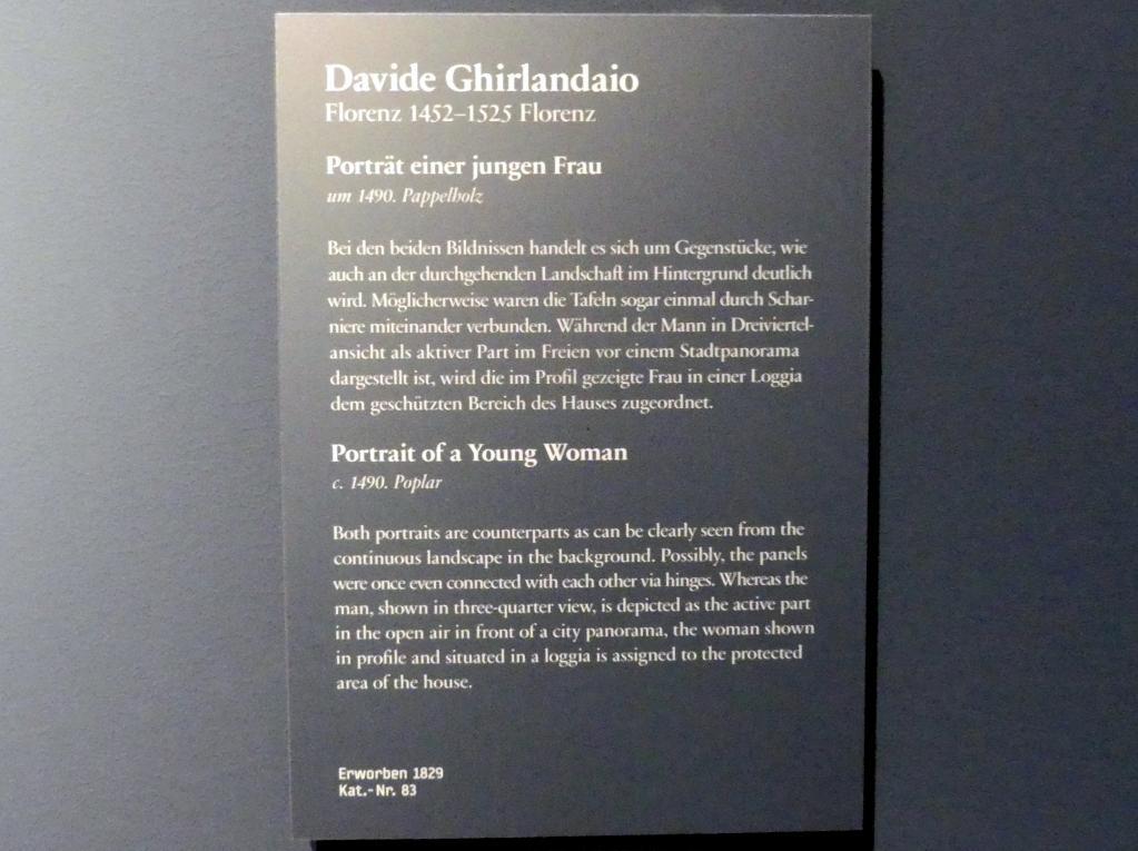 Davide Ghirlandaio: Portrait einer jungen Frau, um 1490, Bild 2/2