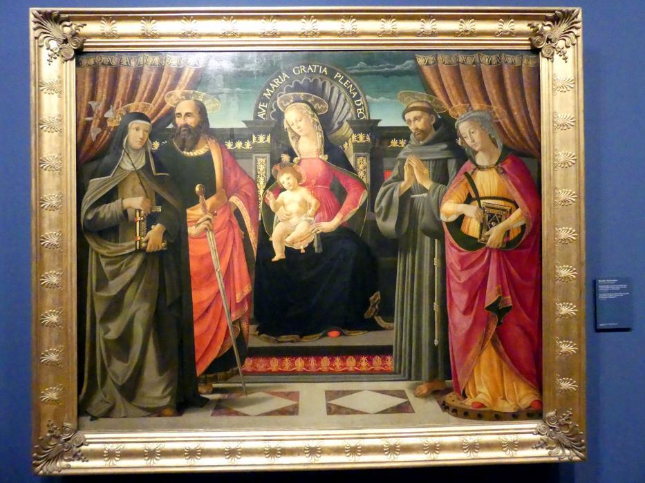 Davide Ghirlandaio: Thronende Maria mit dem segnenden Kind und den hll. Paulus, Klara, Franziskus und Katharina von Alexandrien, um 1480