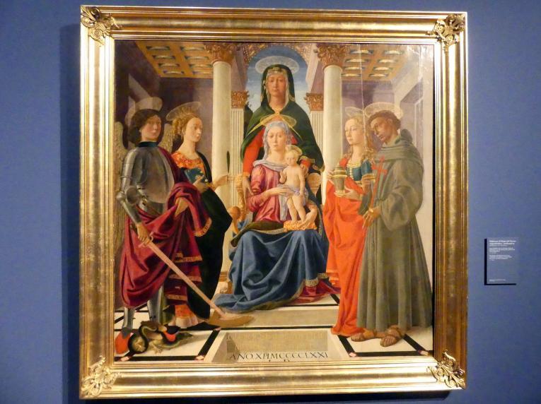 Baldassarre di Biagio del Firenze: Anna Selbdritt mit den hll. Michael Katharina von Alexandrien, Franziskus und Maria Magdalena, 1471