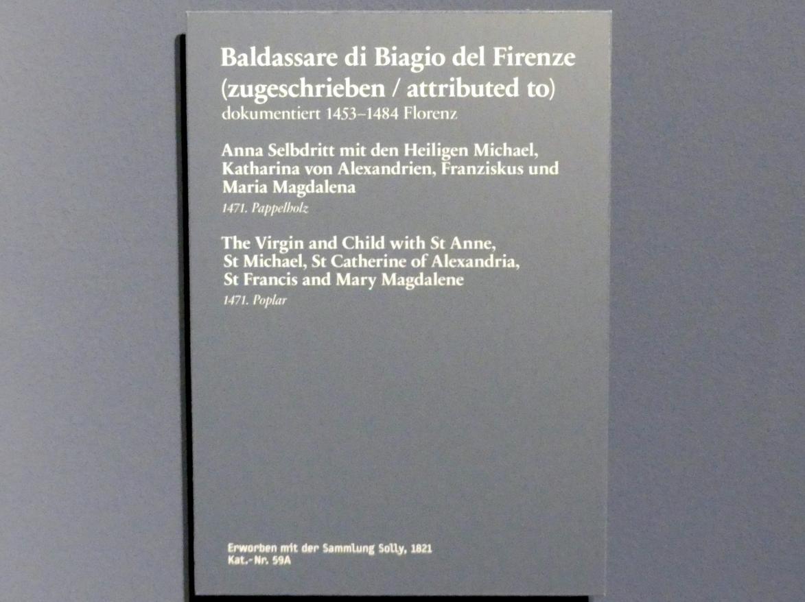 Baldassarre di Biagio del Firenze: Anna Selbdritt mit den hll. Michael Katharina von Alexandrien, Franziskus und Maria Magdalena, 1471, Bild 2/2