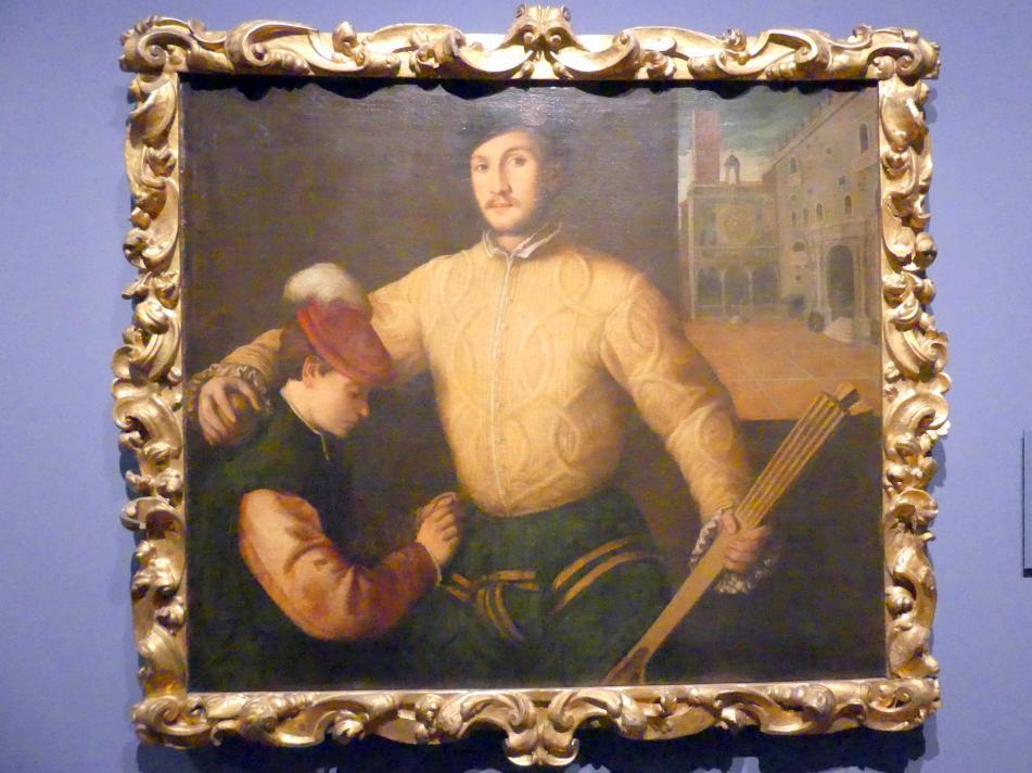 Francesco Beccaruzzi: Bildnis eines Ballspielers mit seinem Pagen, um 1540, Bild 1/2