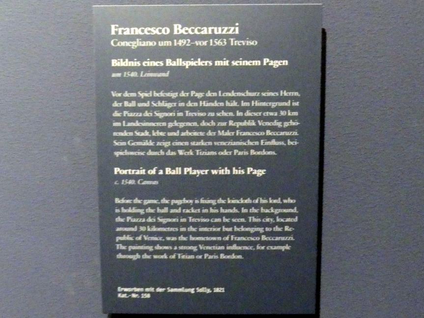 Francesco Beccaruzzi: Bildnis eines Ballspielers mit seinem Pagen, Um 1540