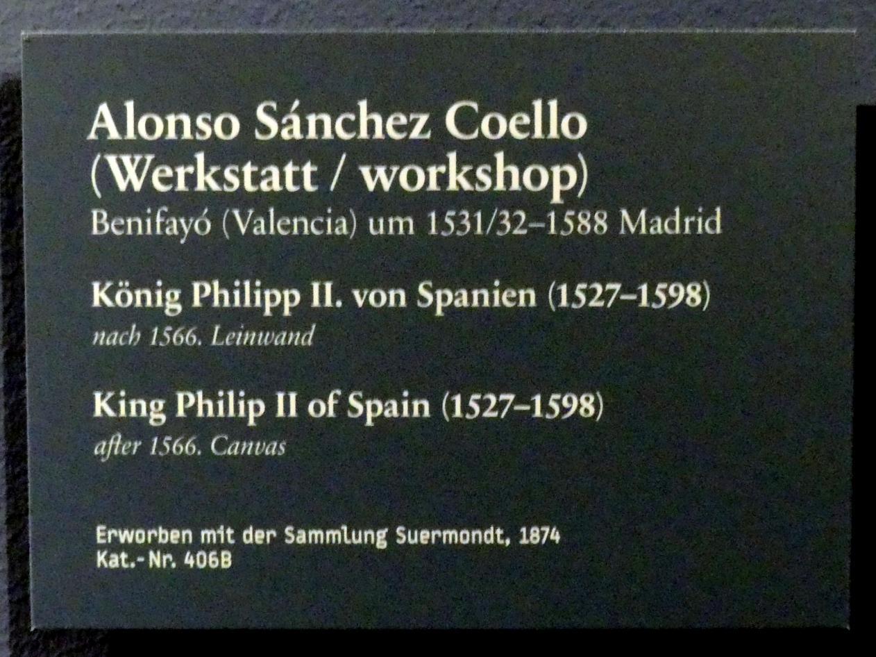 Alonso Sánchez Coello (Werkstatt): König Philipp II. von Spanien (1527-1598), nach 1566, Bild 2/2
