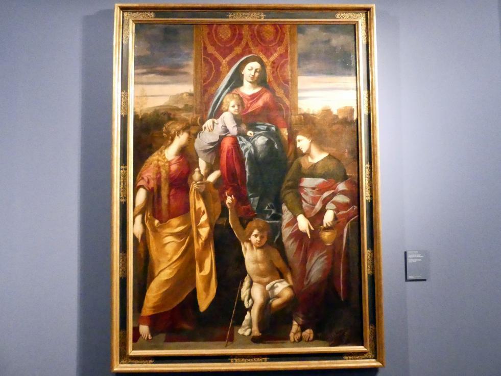 Antonio Carracci: Thronende Maria mit dem Kind, dem Johannesknaben und den Heiligen Martha und Maria Magdalena, Undatiert