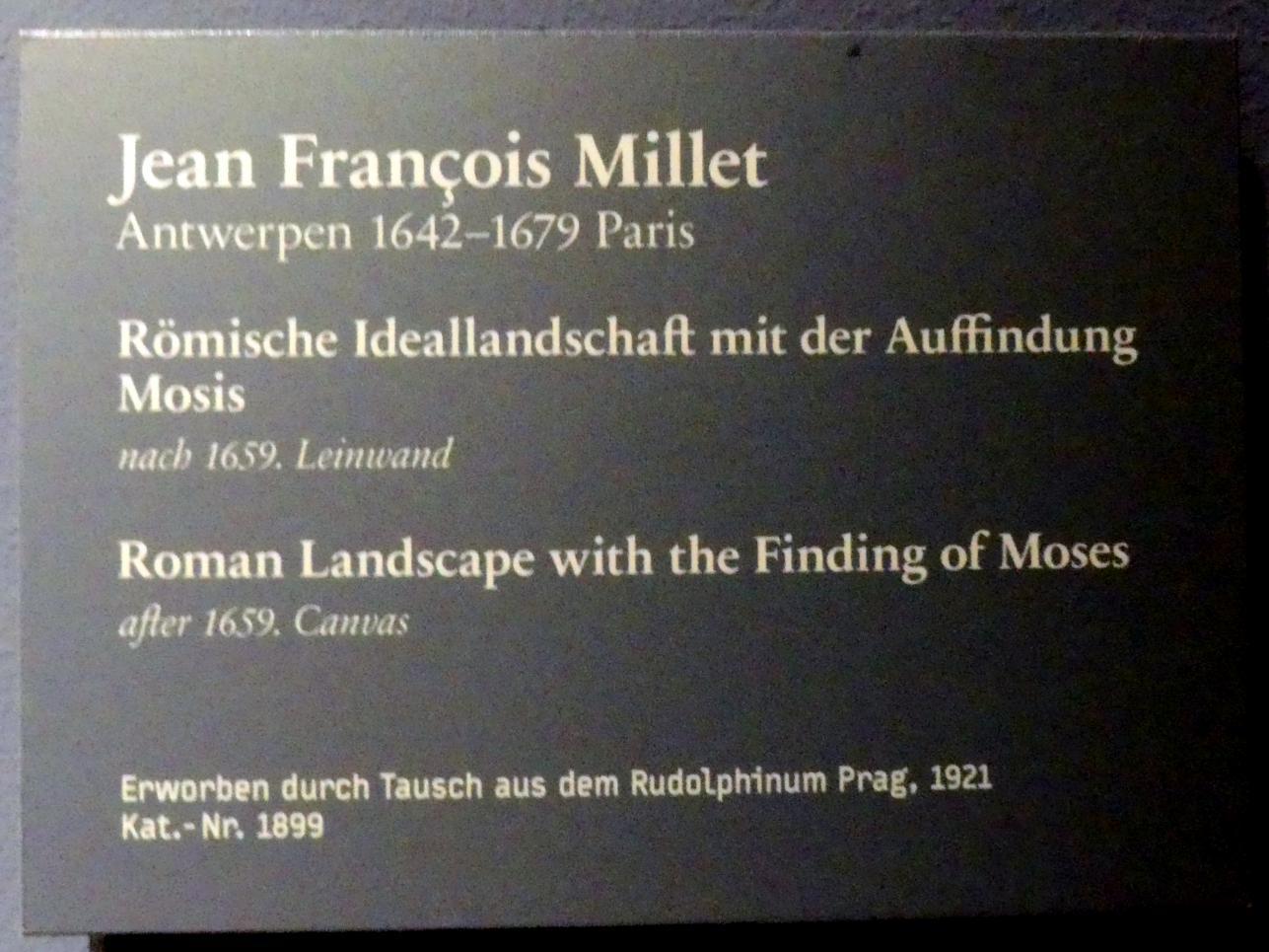 Jean-François Millet: Römische Ideallandschaft mit der Auffindung Mosis, Um 1659