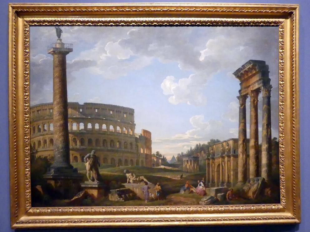 Giovanni Paolo Pannini: Phantasielandschaft mit römischen Monumenten, 1735