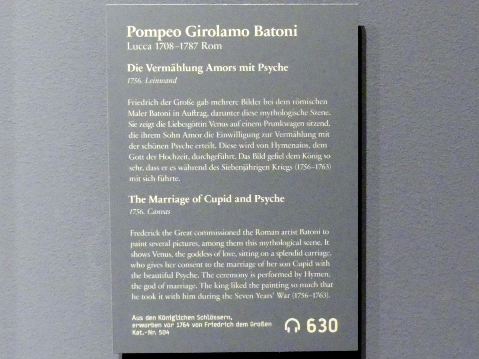 Pompeo Girolamo Batoni: Die Vermählung Amors mit Psyche, 1756, Bild 2/2