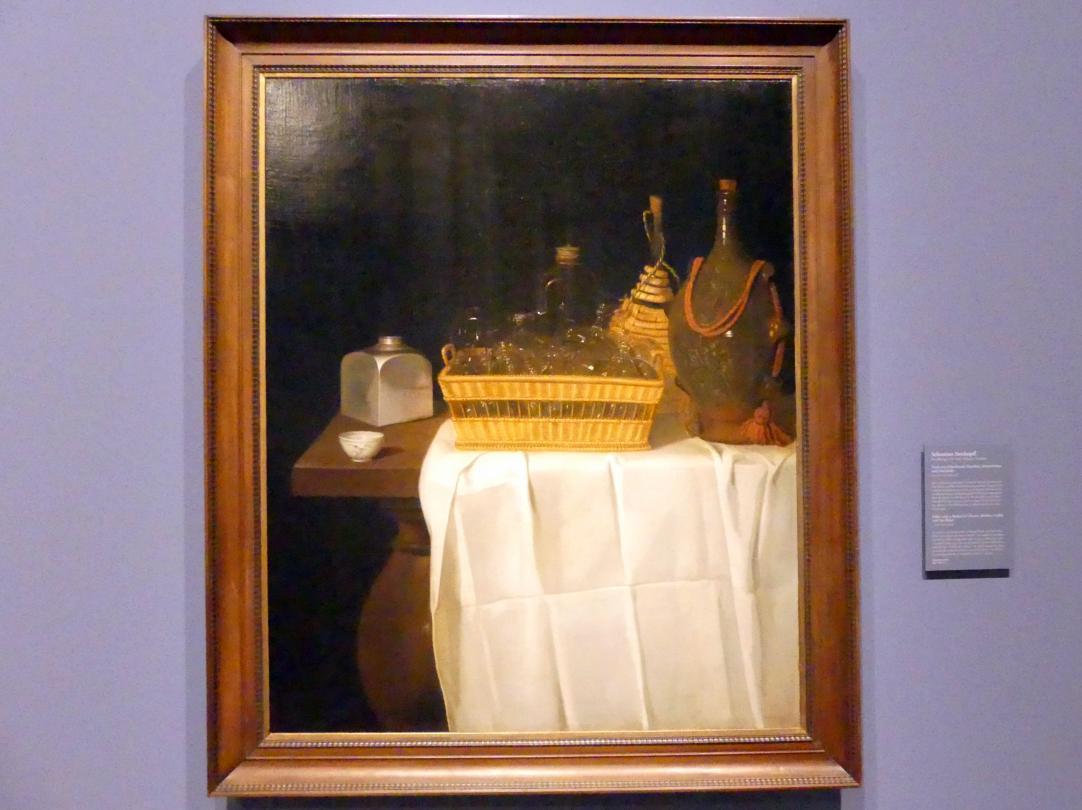 Sebastian Stoskopff: Tisch mit Gläserkorb, Flaschen, Schraubdose und Teeschale, Um 1630 - 1640
