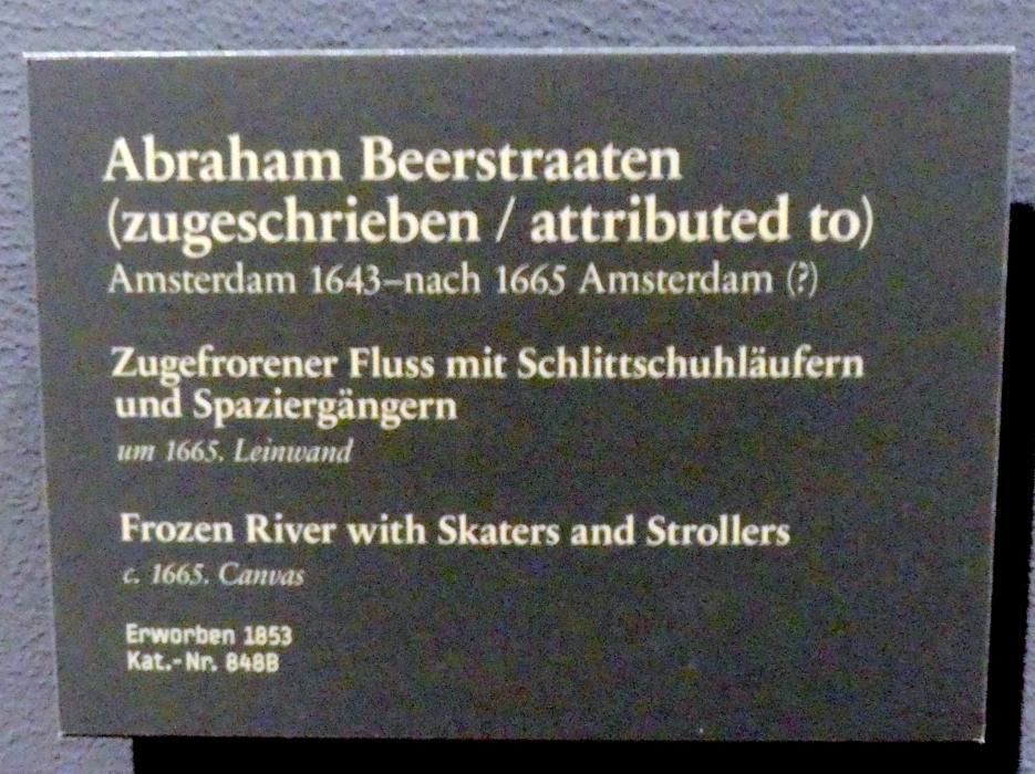 Jan Abrahamszoon Beerstraten: Zugefrorener Fluss mit Schlittschuhläufern und Spaziergängern, Um 1665