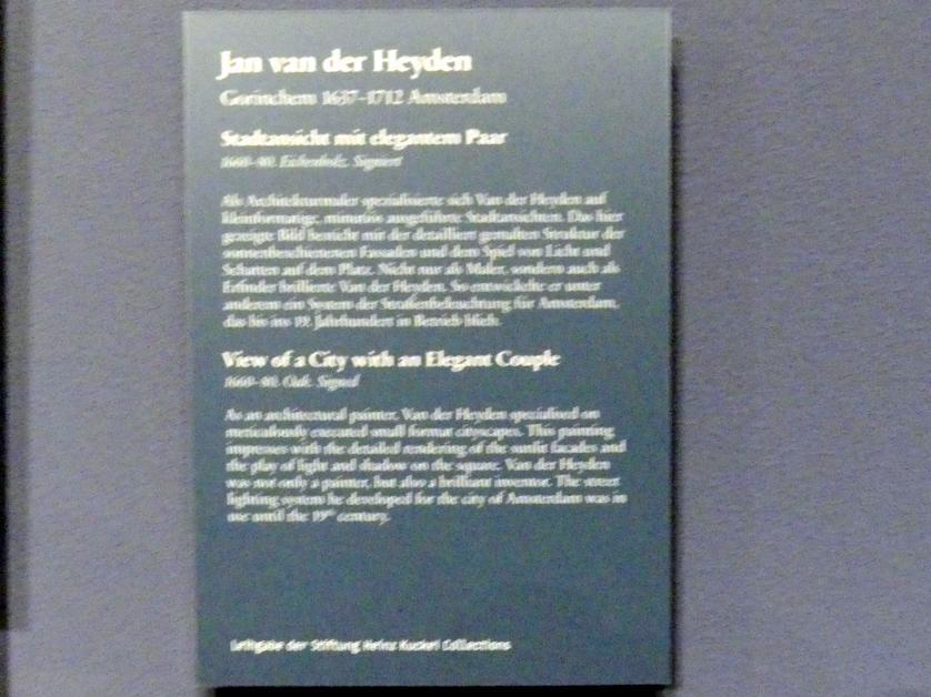 Jan van der Heyden: Stadtansicht mit elegantem Paar, 1660 - 1680