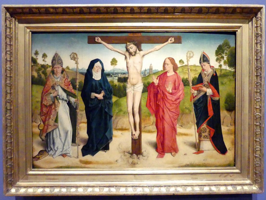 Dieric Bouts d.Ä. (Nachfolger): Christus am Kreuz zwischen Maria, Johannes, Adolphus und Ambrosius, Undatiert