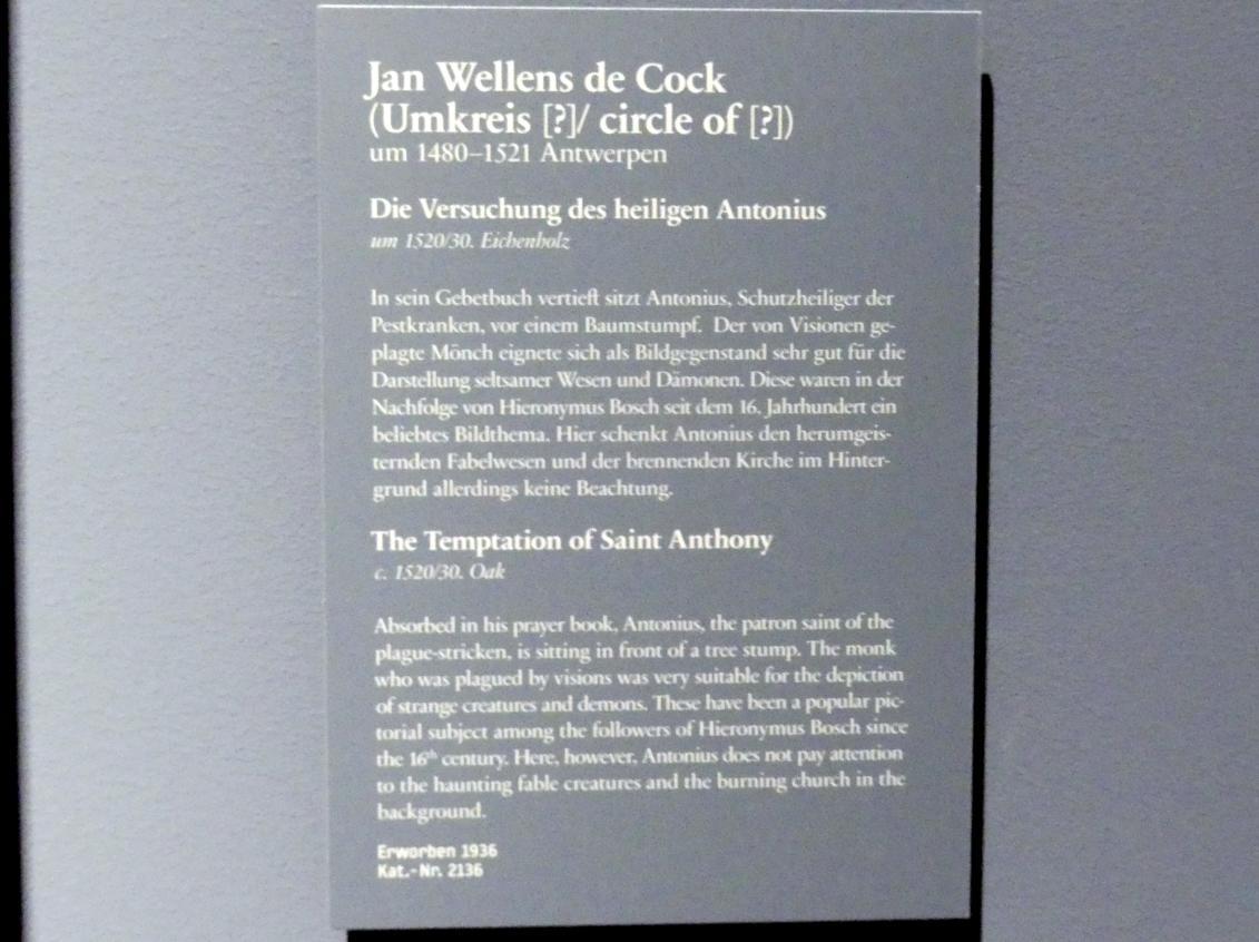 Jan Wellens de Cock: Die Versuchung des hl Antonius, Um 1520 - 1530