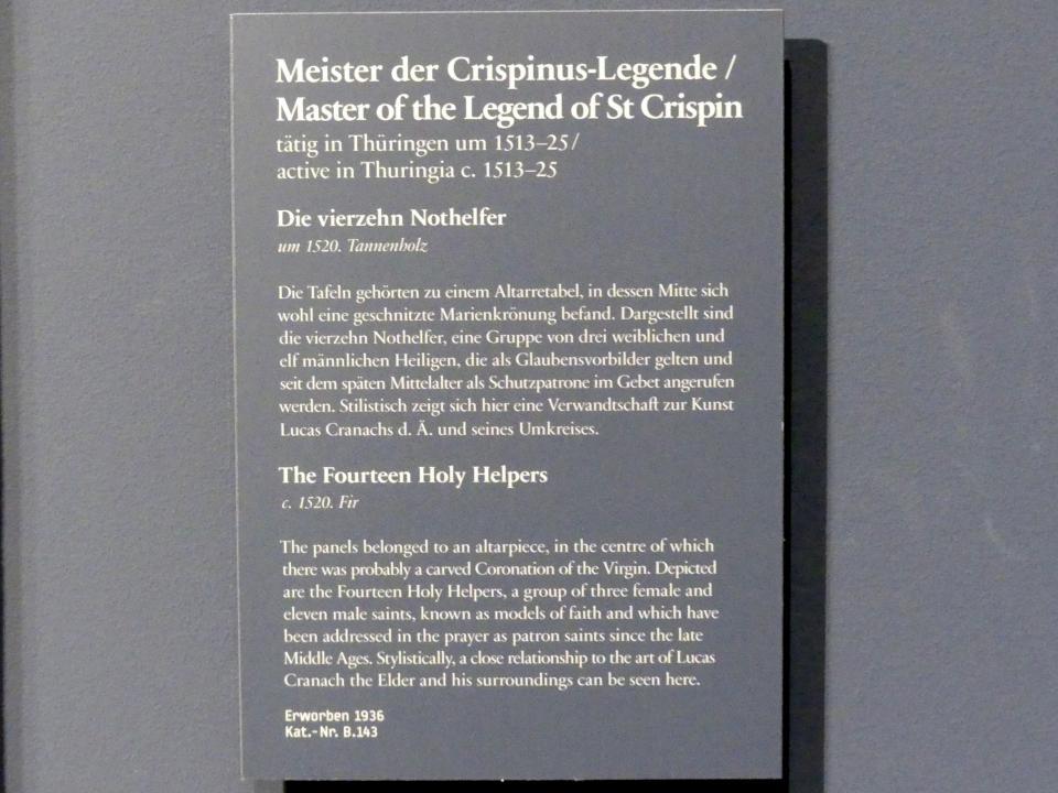 Meister der Crispinuslegende: Retabel des Straußfurter Marienaltars: Die vierzehn Nothelfer, um 1520, Bild 2/2