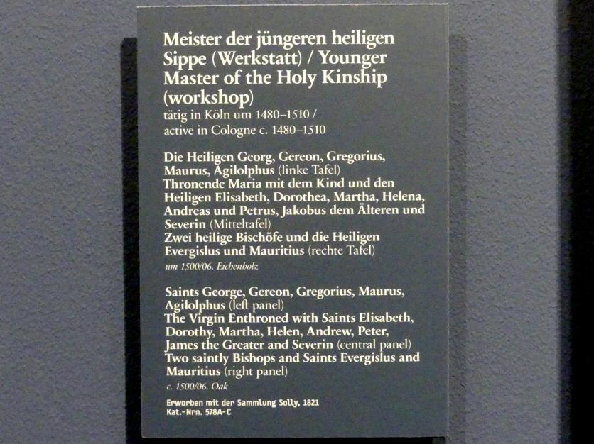 Meister der jüngeren heiligen Sippe (Werkstatt): Drei Altartafeln, um 1500 - 1506, Bild 5/5