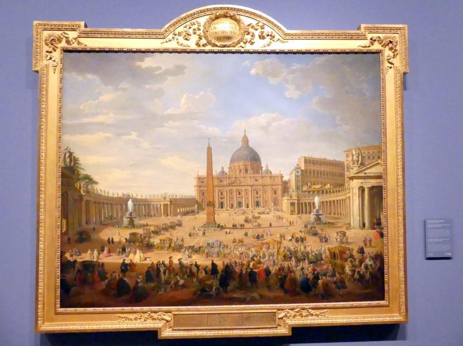 Giovanni Paolo Pannini: Die Ausfahrt des Duc de Choiseul (1719-1785) auf dem Petersplatz in Rom, 1754