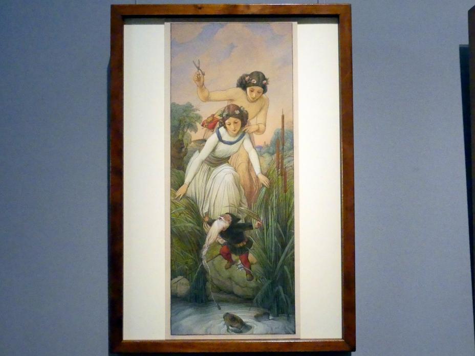 Edward von Steinle: Schneeweißchen und Rosenrot befreien den Zwerg aus der Gewalt des Fisches, 1866