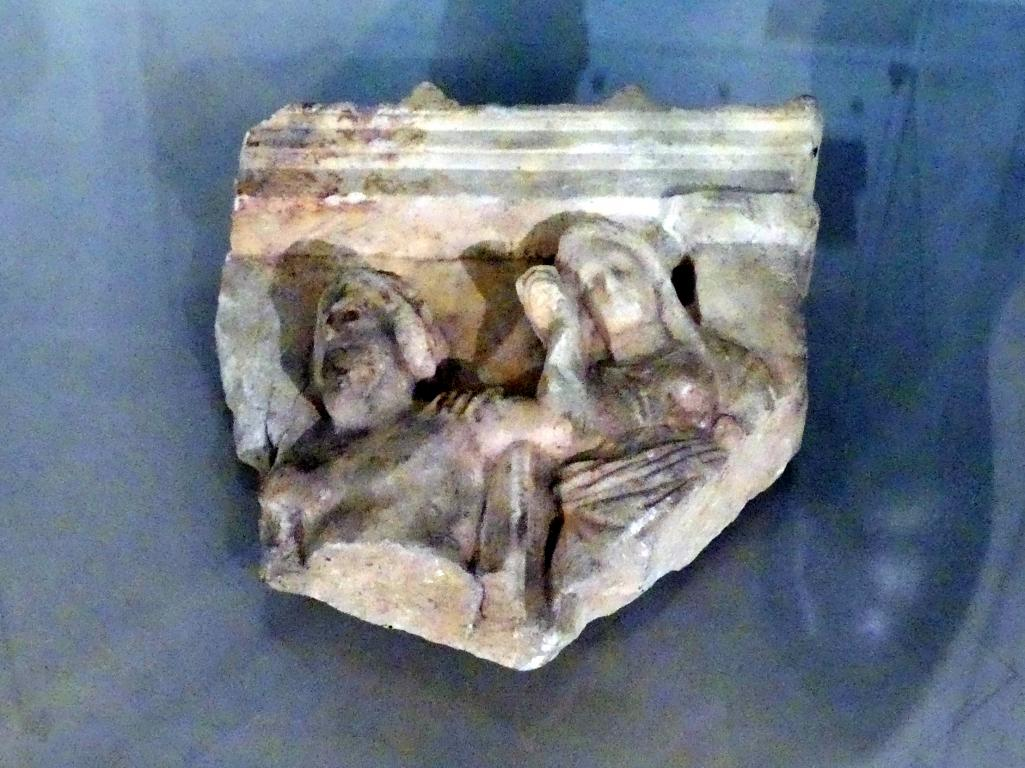 Fragment einer griechischen Votivstele: Asklepios und Hygieia, Ende 4. Jhd.