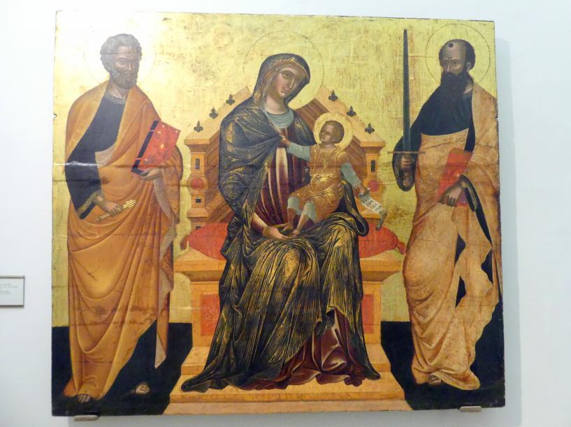 Thronende Madonna mit Kind und den hll. Petrus und Paulus, Ende 15. Jhd.