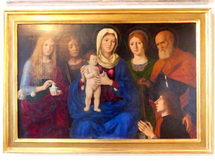 Pasqualino di Niccolò (Pasqualino Veneto): Maria mit dem Kind und den hll. Maria Magdalena, Johannes der Evangelist, Joseph(?), unbekannte Heilige und ein Stifter, um 1496 - 1504