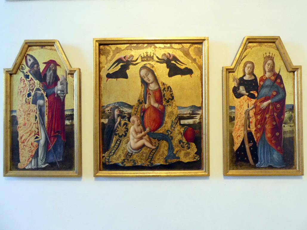 Quirizio di Giovanni da Murano: Triptychon mit Madonna dell'Umiltà und den hll. Augustinus, Hieronymus, Katharina von Alexandrien und Lucia von Syrakus, um 1461 - 1478