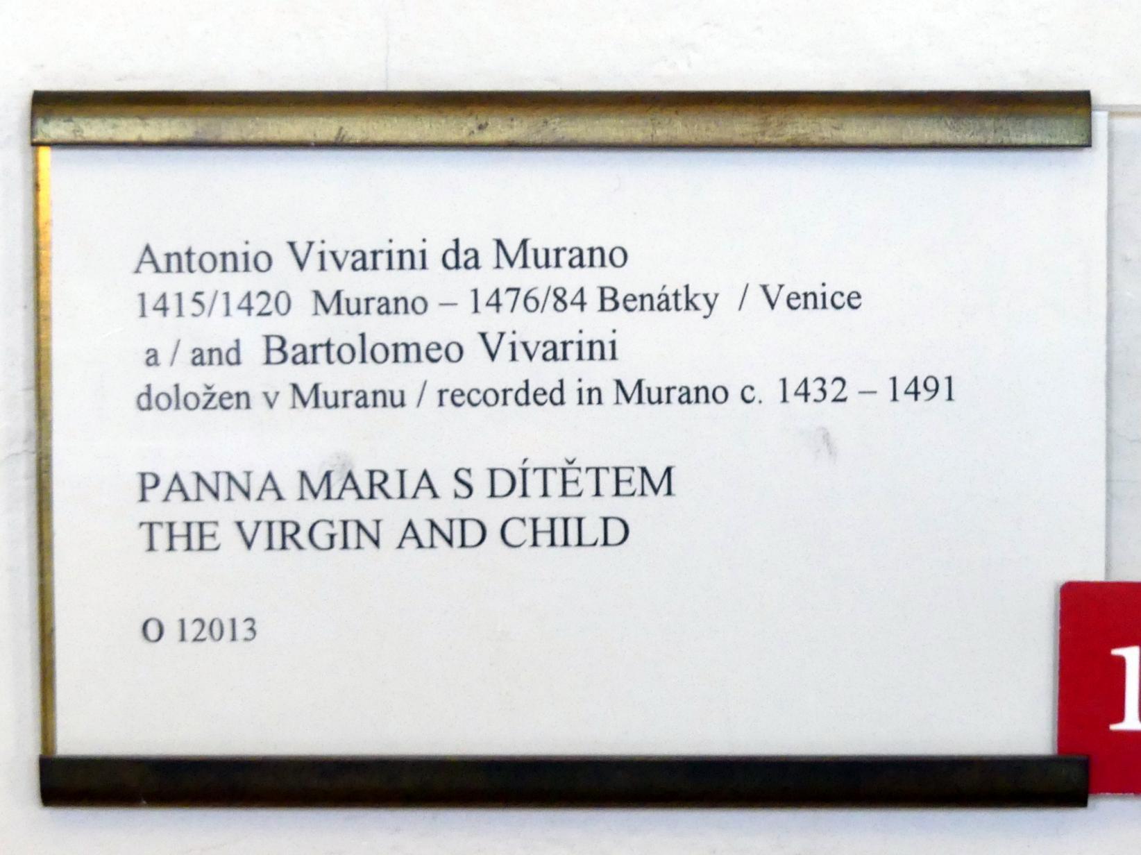 Antonio Vivarini (Antonio da Murano): Maria mit dem segnenden Kind, Undatiert