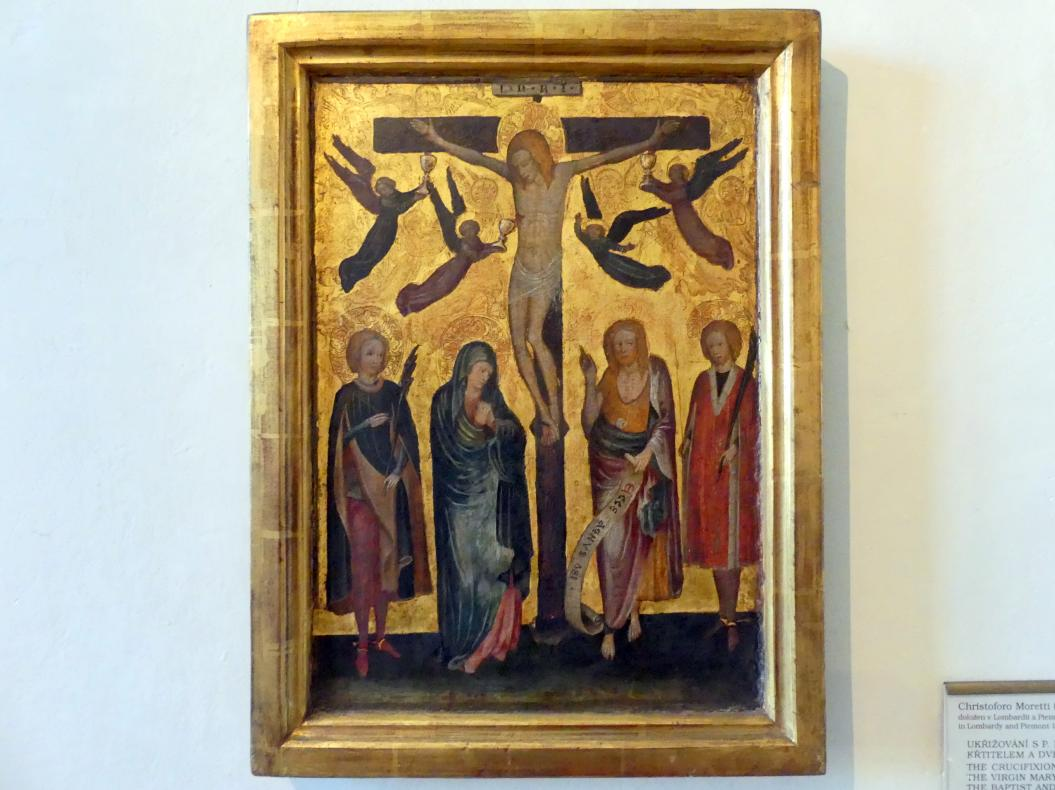 Cristoforo de' Moretti: Gekreuzigter Christus mit Maria, Johannes dem Täufer und zwei Märtyrern, Undatiert