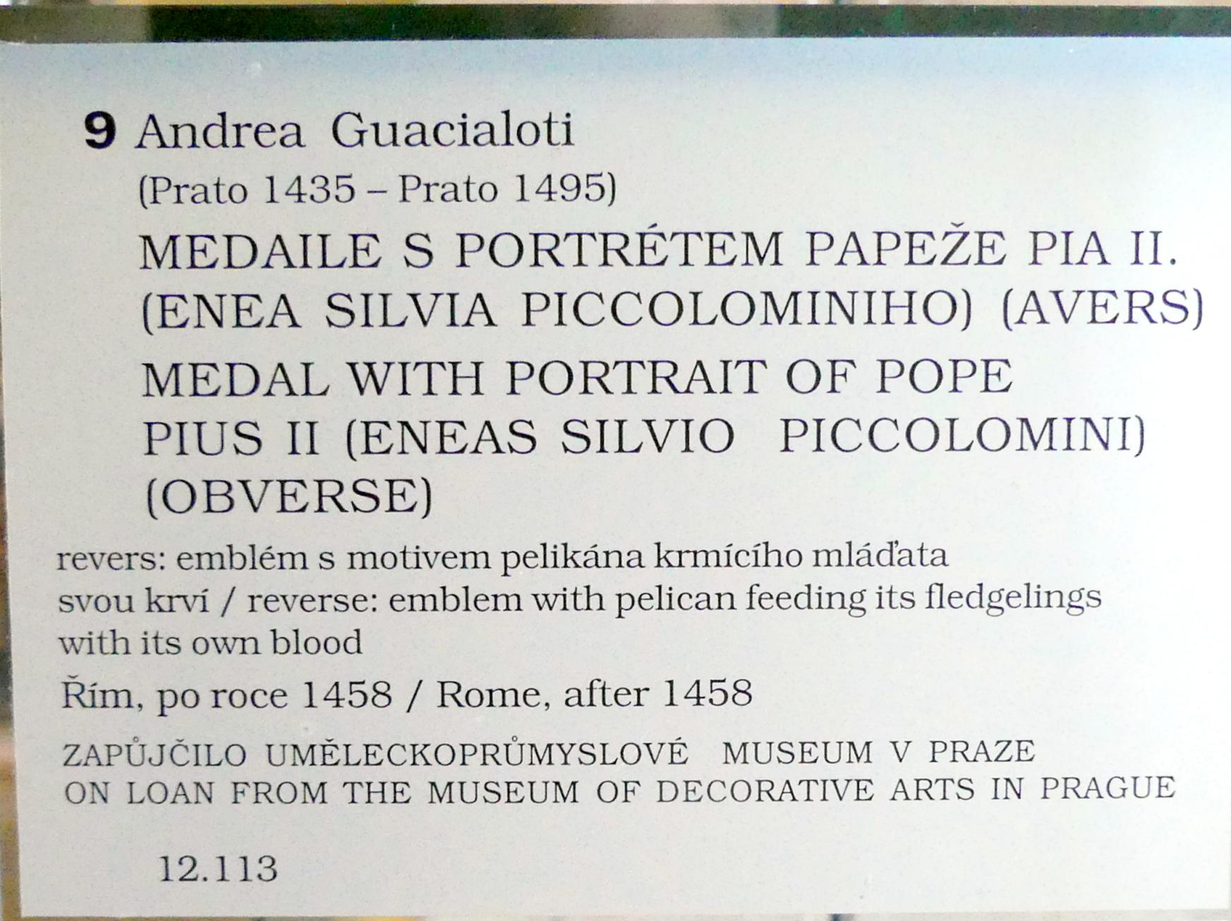 Andrea Guazzalotti: Medaille mit dem Portrait von Papst Pius II., Nach 1458