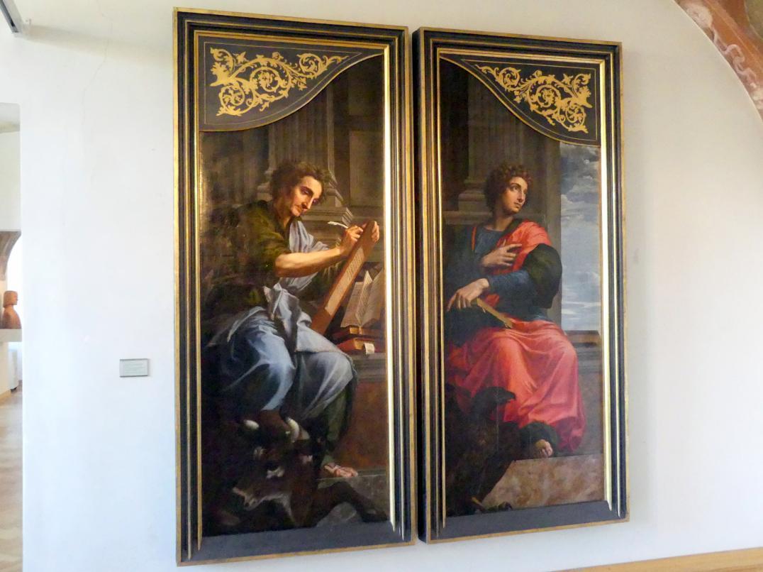 Michiel Coxcie: Altarflügel mi den Evangelisten Lukas und Johannes zum Gemälde Der Hl. Lukas malt die Jungfrau Maria, Undatiert