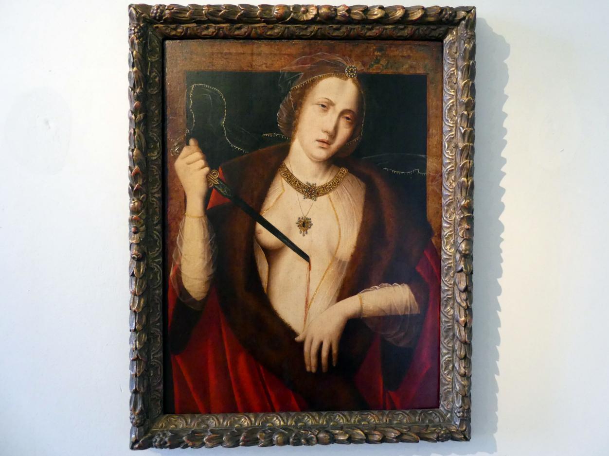Meister des Heiligen Blutes (Werkstatt): Selbstmord der Lucretia, 1. Viertel 16. Jhd.