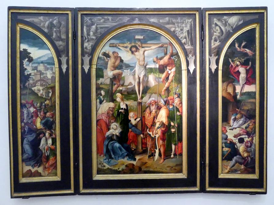 Cornelis Engebrechtsz: Triptychon mit der Kreuzigung Christi, Um 1520