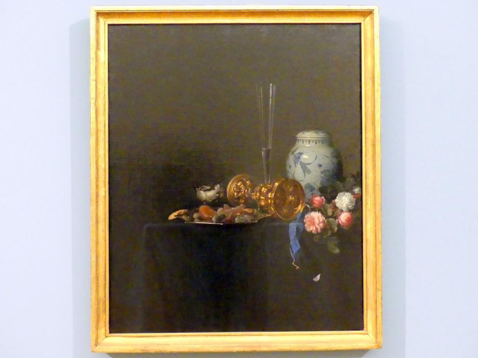 Simon Luttichuys: Stillleben mit goldenem Kelch und Rosen, 1649