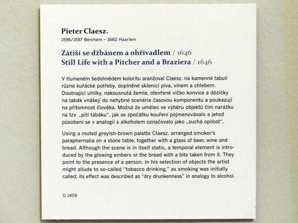 Pieter Claesz: Stillleben mit Krug und Kohlepfanne, 1646, Bild 2/2