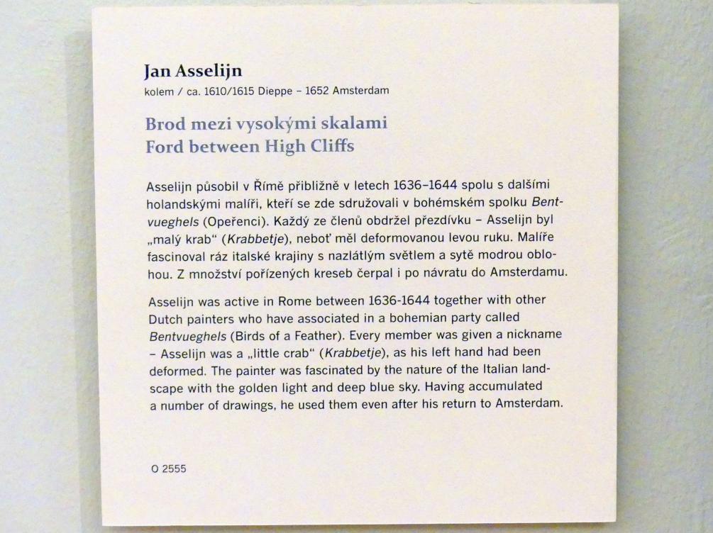 Jan Asselijn: Furt zwischen hohen Klippen, Undatiert