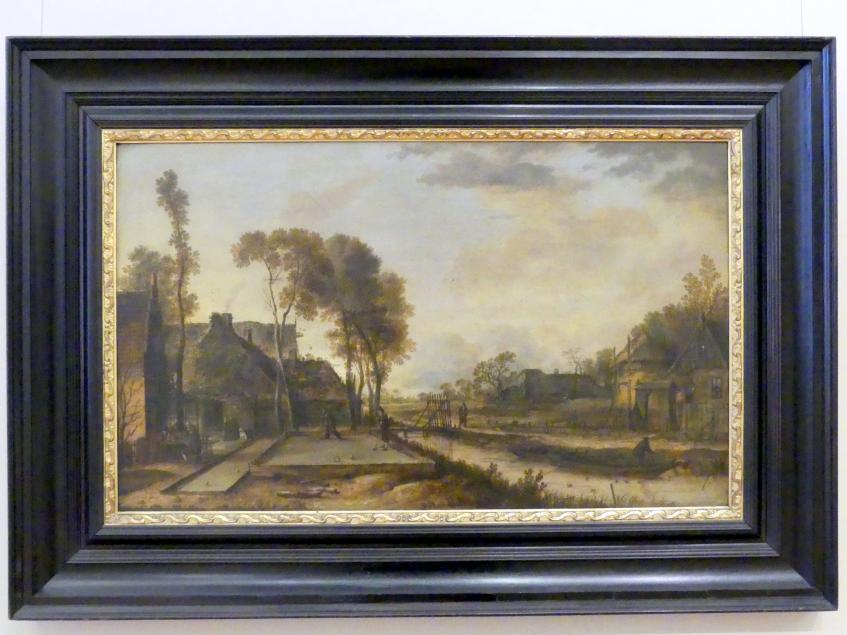 Aert van der Neer: Abendliches Kolven-Spiel in einem holländischen Dorf, 1649