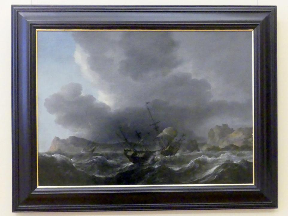 Jan Theuniszoon Blanckerhoff: Dreimaster-Galeonen bei Sturm vor einer felsigen Küste, Undatiert