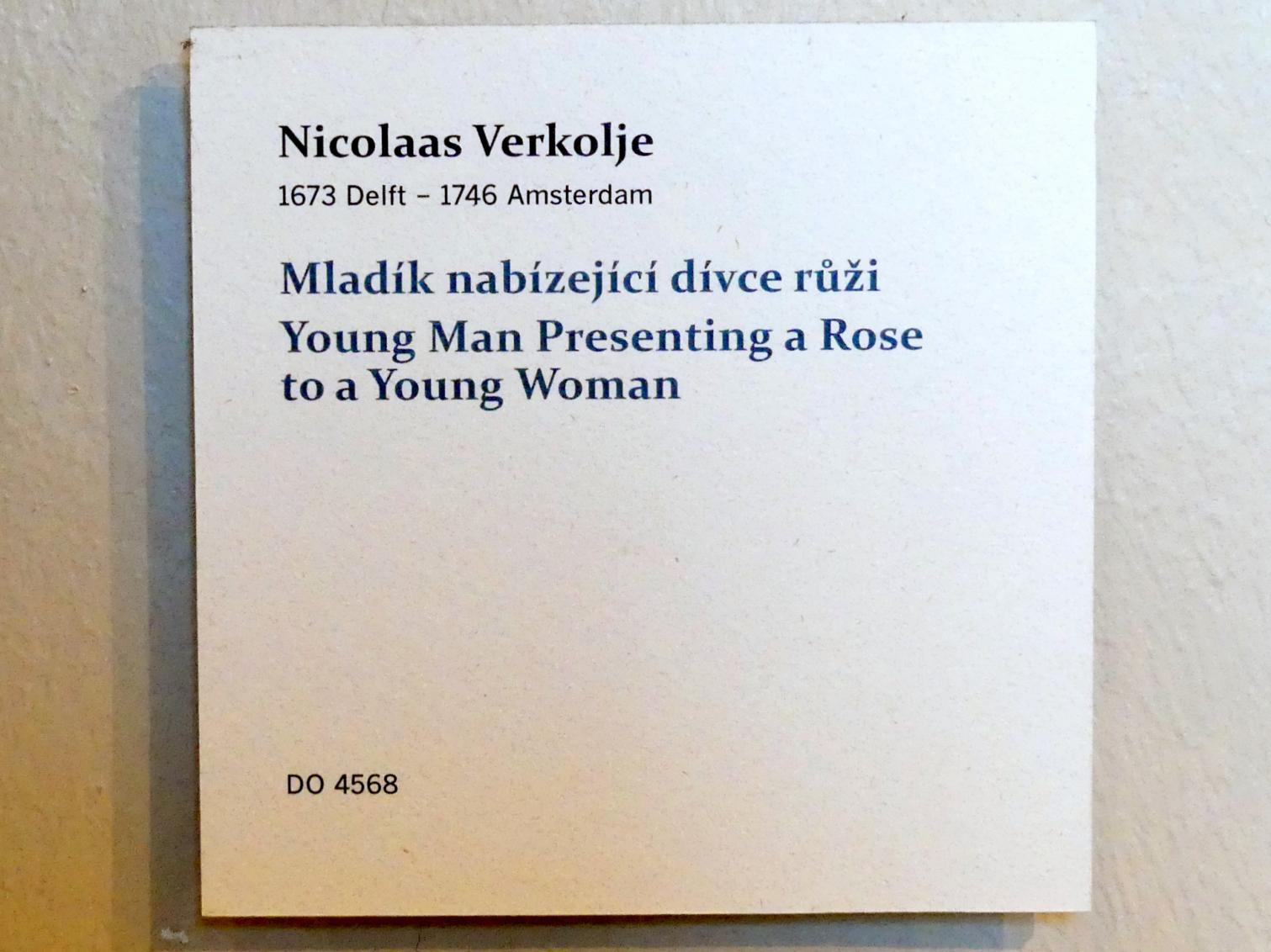 Nicolaas Verkolje: Junger Mann schenkt einer jungen Frau eine Rose, Undatiert