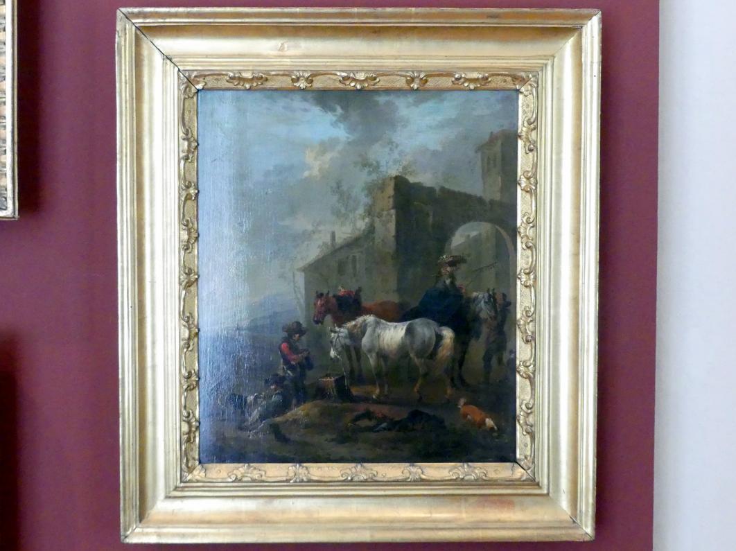 August Querfurt: Pferde vor einem Hof, Undatiert