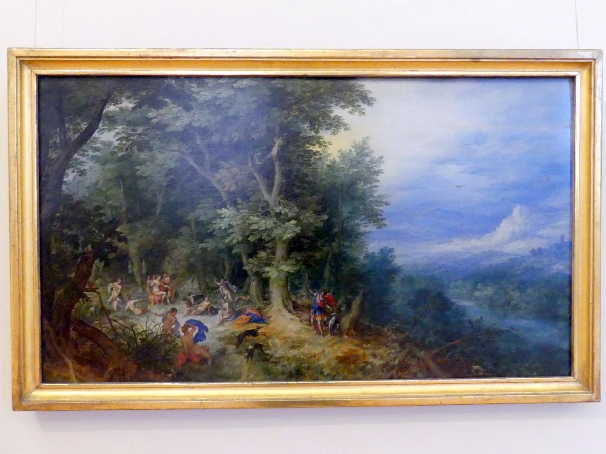 Jan Brueghel der Ältere (Blumenbrueghel): Landschaft mit Diana und Aktaion, Undatiert