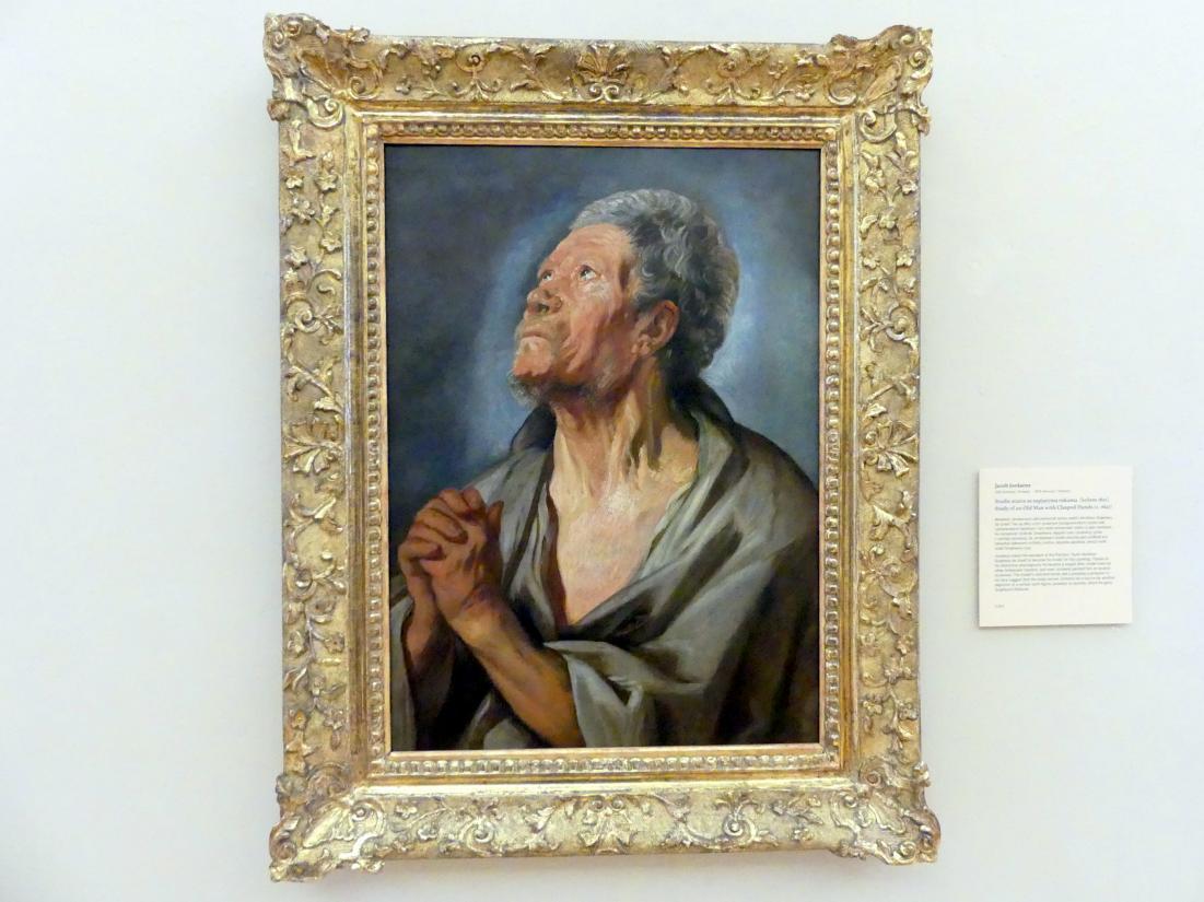 Jacob Jordaens: Studie eines alten Mannes mit gefalteten Händen, Um 1621