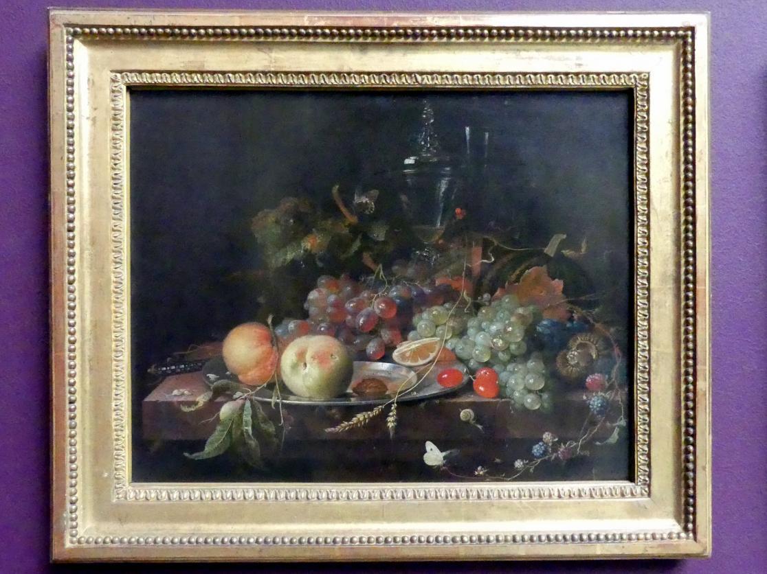 Abraham Mignon: Stillleben mit Früchten, Zinnteller und Weingläsern, um 1663 - 1664