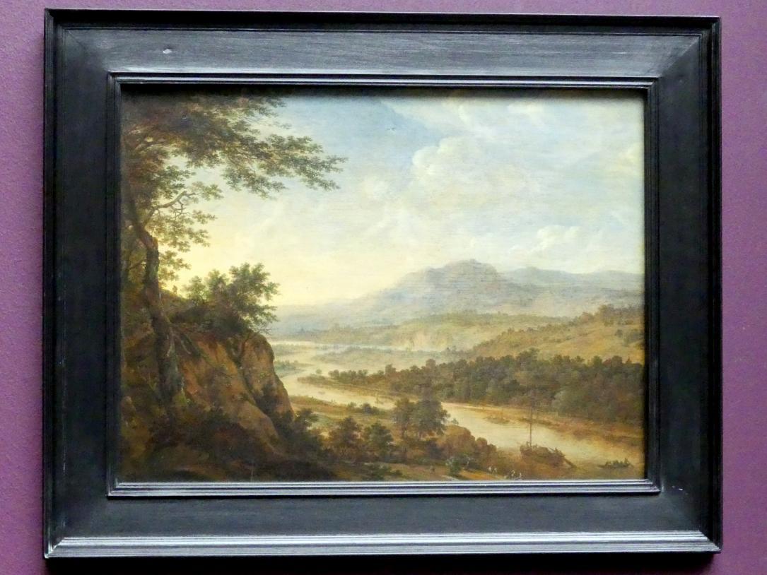 Herman Saftleven: Flusslandschaft mit einem Felsanstieg, 1650