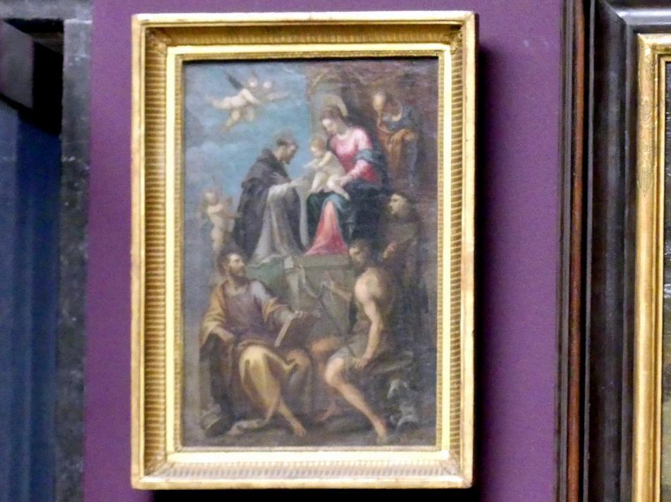 Thronende Madonna mit dem Kind und den hll. Joseph, Dominikus, Petrus, Johannes der Täufer und Franziskus, Undatiert